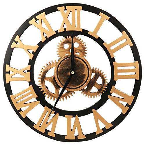 MEISTAR 掛け時計 静音 ギア 直径34cm 壁掛け時計 木製 レトロ 歯車 掛時計 インテリア時計 おしゃれ ギフト ローマ数字 金