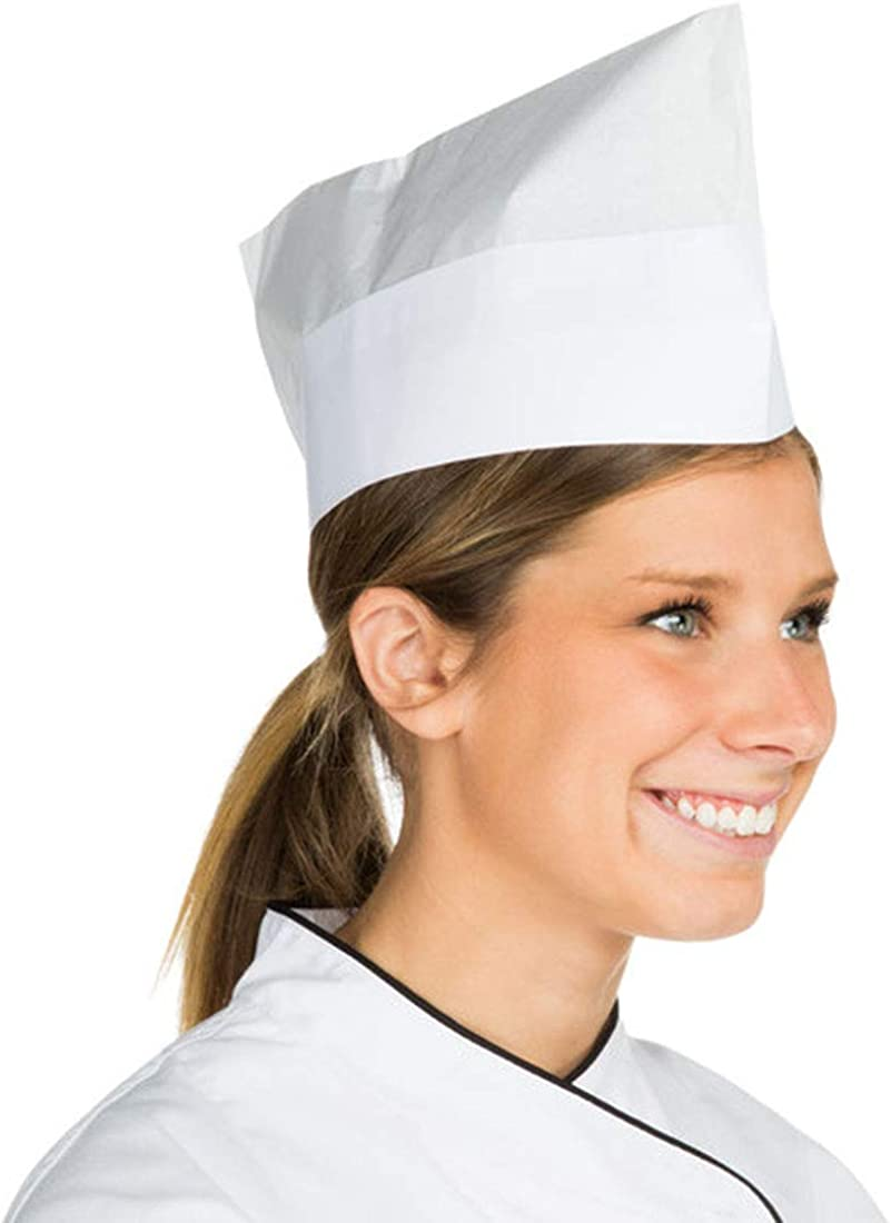 Pack of 100 White Disposable Peaked Paper Crown Caps. Food Service Uniform Overseas Caps, Server Paper Hats for Food Handling, Restaurant, Birthday Party, Industrial Use. Soft Paper Band. Wholesale