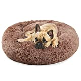 Dog Beds for Medium Dogs Washable Donut French Bulldog Ded Calming Cat Bed for 2 Cats 30 Inches Fluffy Cozy Puppy Bed Washable Anti Anxiety Brown
