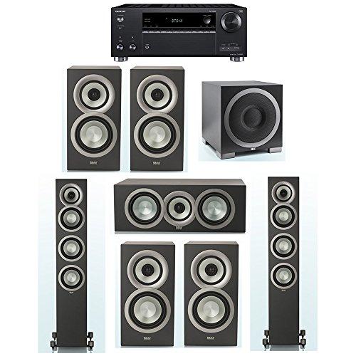 Lowest Prices! ELAC Uni-Fi Slim Black 7.1 System with 2 ELAC FS-U5 Floorstanding Speakers, 1 CC-U5 C...