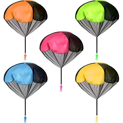 AIEX 10 Stück Fallschirm Spielzeug Kinder, Fliegendes Fallschirmspielzeug im Freien Handwerfen Beobachten Landungsspielzeug für Kinder (Mehrfarbig)
