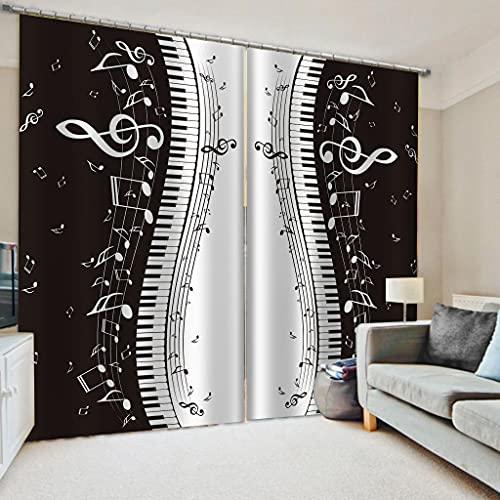 Hailongdia Cortina Opaca, 3D Black-out Seda De Alta Gama En Blanco Y Negro para Habitación De Lujo Europea Dormitorio 265 (H) X200 (W) Cm X2