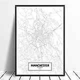 Leinwanddruck,Manchester Black White Custom Welt Stadtplan