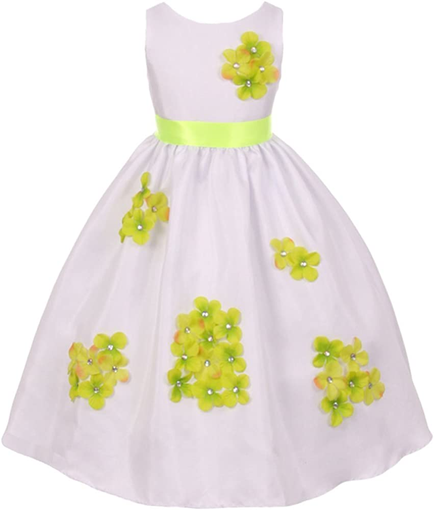 iGirldress Little Girls' Shantung Flower Petal Special Occasion Dress (2-14Y)