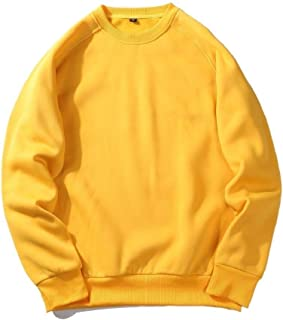 Howely Men's Plus Size Pure Color Round Neck Pullover Top Sweatshirt