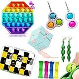 VAVCASE 10Pcs Sensory Fidget Toys Set ,Multipack Infinity Cube Fidget Toy Set Pop Fidget Toy Mini...