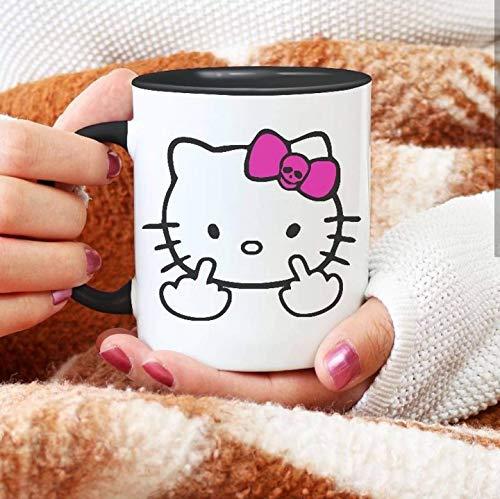 Dozili Hello Kitty Mittelfinger Kaffeetasse, 325 ml, Weiß