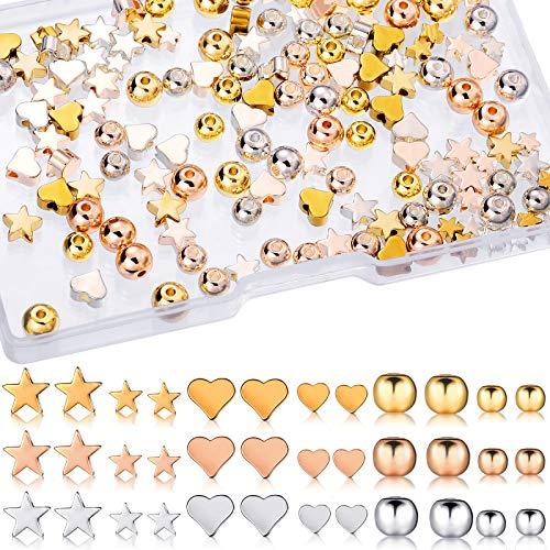 180 Stück Verschiedene Abstandsperlen Herzform Perlen Runde Abstandsperlen Sternform Metallperlen Handgefertigte Bastelperlen Schmuck Charm Lose Perlen, Gold, Silber, Rosegold