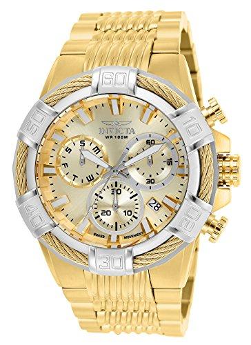 Invicta Relógio masculino de quartzo com cronógrafo de aço inoxidável dourado de 51 mm, dourado (modelo: 25868)