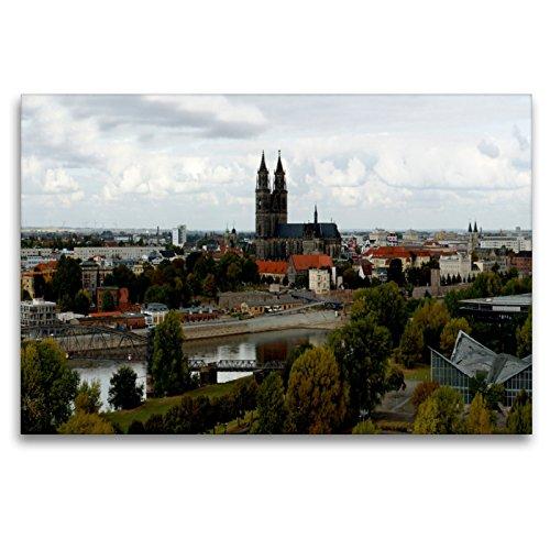 Premium Textil-Leinwand 120 x 80 cm Quer-Format Dom und Elbe in Magdeburg im Herbst | Wandbild, HD-Bild auf Keilrahmen, Fertigbild auf hochwertigem Vlies, Leinwanddruck von Beate Bussenius