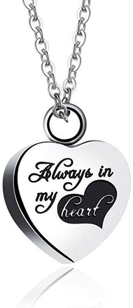 Sug Jasmin Always in My Heart Urn Necklaces for Ashes Memorial Jewelry Cremation Keepsake Pendant with Fill Kit