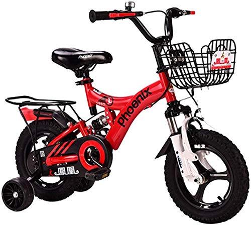 Bicicleta para niños Freestyle 12 14 16 18 Niños y Niñas Bicicleta con asiento trasero Niños Ciclismo Adecuado para Altura 33 - 59 '-Rojo_14 '