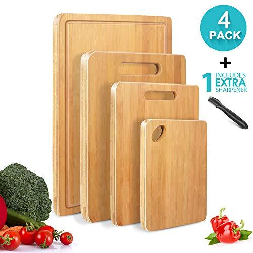 MASTERTOP 4-teiliges Bambus Schneidebrett Set mit Saftrille, multifunktionalen Schneidebretter Holz in verschiedenen Größen mit 1 Messerschärfer für Küche