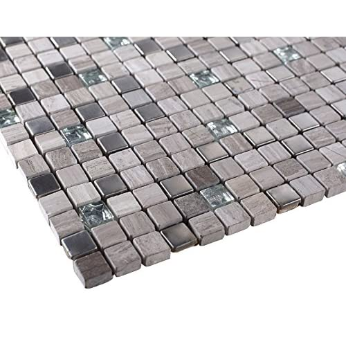 Light Grey Luxury Square Pebble Stone With Stainless Steel Mosaic Tiles For Bathroom And Kitchen Walls Kitchen Backsplashes Amazon Com