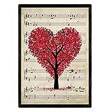 Nacnic Poster Vintage di Albero dell'amore con sottofondo di spartiti. Elegante Decorazion...