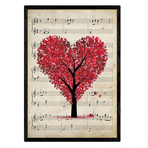 Nacnic Lámina Poster Arbol corazón Vintage de partituras.