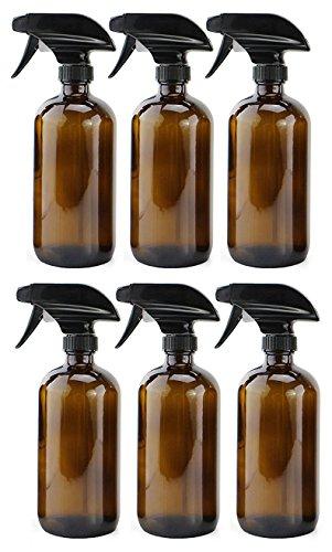 16oz Amber Glass Spray Bottles (6 Pack), Boston Round Bottles W/Heavy Duty Mist and Stream Sprayers