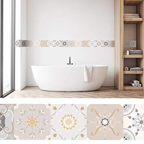 setecientosgramos Cenefa Auto-Adhesiva | Decoración de Pared Cocina & baño, 5 m x 15 cm | Terra