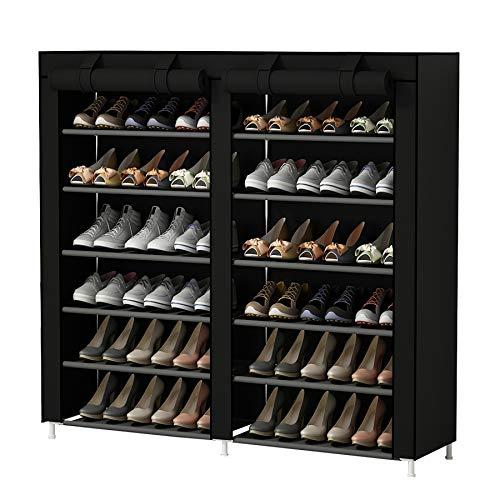 UDEAR 7 Schicht Staubdichtes Schuhablage Schuhregal Schuhschrank für ca. 36 Paar Schuhe Schwarz