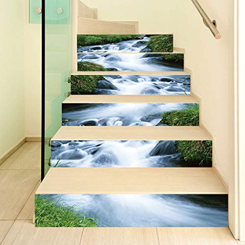 WANMEI Juego de 6 adhesivos 3D para escaleras, de agua, autoadhesivos, de PVC, para decoración del hogar