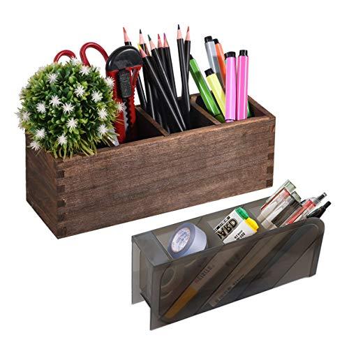 Wood Pen Pencil Holder Desk with 1 Pcs Plastic Black Desk Pen Storage Holder, 4 Compartments Desk Pen Organizer, Multi-Functional Desktop Accessories Storage Caddy for School Home Office