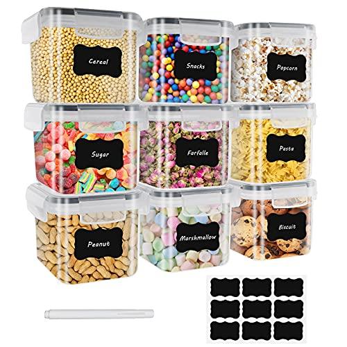 0.8L Vorratsdosen 9 Set Aufbewahrungsbox Küche Luftdicht Behälter aus Plastik Mit Deckel Kunststoff Trockenfutterbehälter für Aufbewahrung Getreide Müsli Reis Mehl Futter Zucker Haustiere Rosa