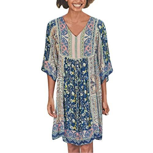 LOPILY Hippie Strandkleid Damen Blumen Gedruckte Sommerkleid 1/2 Arm Talliertes Tunikakleid für Freizeit Lockeres Blusenkleid 50 48 Boho Shirtskleid Damen Lässige Jumper Kleider Übergröße (Blau, 34)