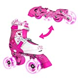 Yvolution Neon Combo Skates   2-1 Quad and Inline Skates for Kids with LED Wheels   Adjustable Sizing (Pink, 3-6)