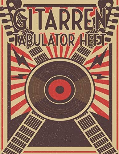Gitarren Tabulator Heft: Mit leeren Tabs und Akkorden - Große Lineatur - Musik Schreibheft - Leere Notensysteme - Tabulator und Akkord Notenblock - Ca. DIN A5
