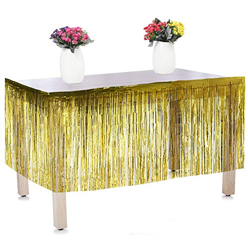 "Moohome Metallic Foil Fringe Gold Table Skirt 9ft. x 29inch Tinsel Party Table Skirt 108"" x 29"" (1-Pack, Gold)"