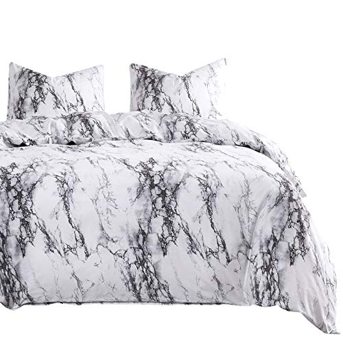 Wake In Cloud - Marble Comforter Set, Gray Grey Black and White Pattern Printed, 100% Cotton Fabric with Soft Microfiber Inner Fill Bedding (3pcs, King Size)