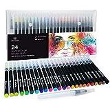 24 Brush Pen Set Pennelli Acquerello per Disegno Penne ad Acquerello Pennarelli per Calligrafia con Punta a Pennello per Lettering Manga Illustrazione