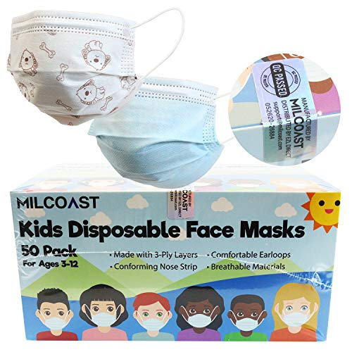 Milcoast 3-Layer Kids Disposable Face Masks - Easy to Breathe, Soft Earloops - for Childcare, School, Daily Use - 50 Pack