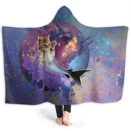 Space Cat Fish Pizza Hooded Blanket Superweiche Flanelldecke Hoodie Tragbare Decke mit Kapuze Robe mit Kapuze Umhang für Bademantel