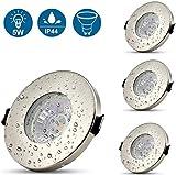Lot de 4 Spots LED Encastrables en acier inoxydable pour salle de bain, Plafonniers LED Encastrables 5W GU10, équivalents d'ampoules halogènes de 50W, 450lm, Blanc Neutre 4500K, IP44, Ø70mm