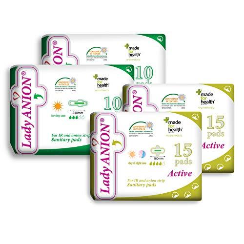 Lady Anion set menstrual para tu período no abundante/moderado, algodón orgánico certificado - juego de 2 tipos en 1 I Compresas algodon