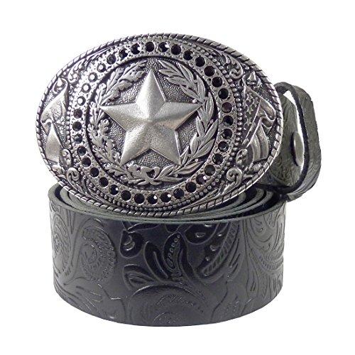 Westernwear-Shop Ledergürtel Black Daisys & Sheriff Silber Ledergürtel mit Gürtelschnalle Westerngürtel Damengürtel Westernkleidung (115 cm) Schwarz