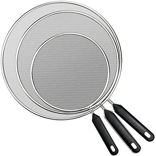3 Piezas Tapa Antisalpicaduras Cocina, Pantalla Antisalpicaduras de Acero Inoxidable con Mango para Protección contra Aceites - 19/25/29cm