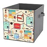Cajas de almacenamiento plegables Bauhaus para muebles, cubos de almacenamiento duraderos con asas de transporte para el hogar, armario, dormitorio, cajones, organizadores