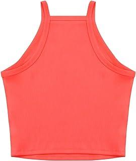 NVDENIMME Women's Sleeveless Racerback Knit Slim Basic Halter Cami Top Running Workout Crop Top for Women