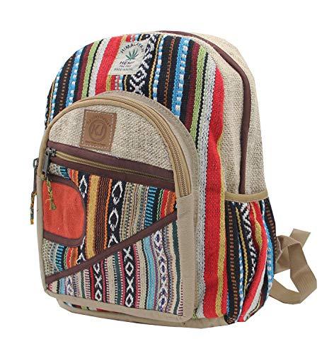KayJayStyles Handgefertigter Naturhanf Nepal Rucksack Geldbörse für Damen & Mädchen Klein Leicht Daypack Gr. M, Daypack 4