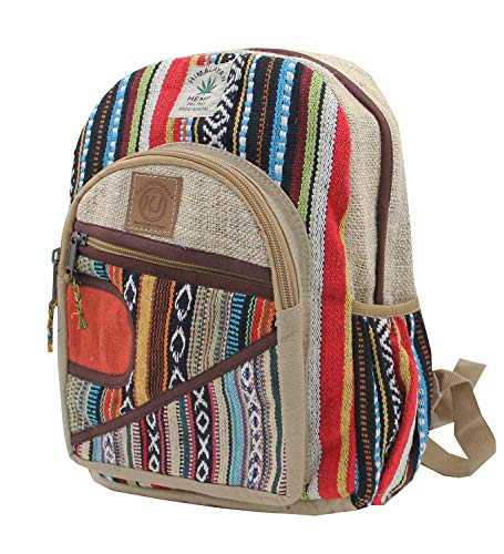KayJayStyles Handmade Natural Hemp Nepal Backpack Purse for Women & Girls Small Lightweight Daypack (DAYPACK4)