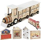 BRUBAKER Calendario de Adviento de Madera Reutilizable para Rellenar - Locomotora Blanca de 24 Puertas - Calendario de Navidad DIY 46 x 9.5 x 10.7 cm
