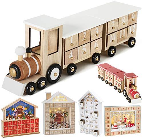 Brubaker Wiederverwendbarer Adventskalender aus Holz zum Befüllen - Weiße Lokomotive mit 24 Türchen - DIY Weihnachtskalender 46 x 9.5 x 10.7 cm