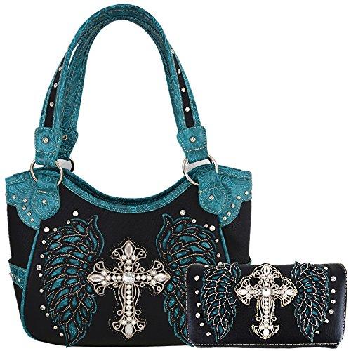 Western Origin - Damenhandtaschen mit Brieftasche im Western-Stil Damen, (Black/Turq Set), Large