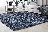 QUANHAO Wohnzimmerteppich, super weicher Plüschteppich, Flauschiger Teppich, schöner Flauschiger Schlafzimmerteppich, geeignet für die Heimdekoration, Kindersofakissen(Dunkelgrau, 120 x 160 cm)