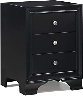 WATERJOY Side End Accent Table Nightstand, 3-Drawer Storage Home Bedroom Furniture with USB Charging Port (Black)