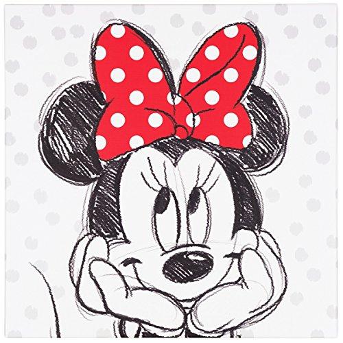 BilligerLuxus Wandbild Kunstdruck 35x35 Disney Minnie Maus schwarz weiß rot