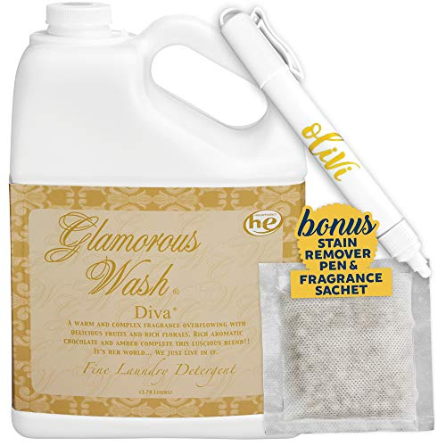 Tyler DIVA Glamorous Wash Laundry Detergent - 1 Gallon - With Olivi Stain Remover Pen - Fresh Scented Sachet - Laundry Detergent - For Washing Clothes, Linen, Lingerie, Expensive Fabric, Sheets