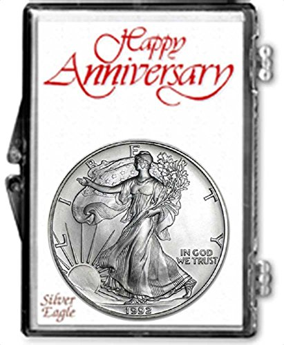 1992-1 Ounce American Silver Eagle in Anniversary Holder Dollar Uncirculated Us Mint